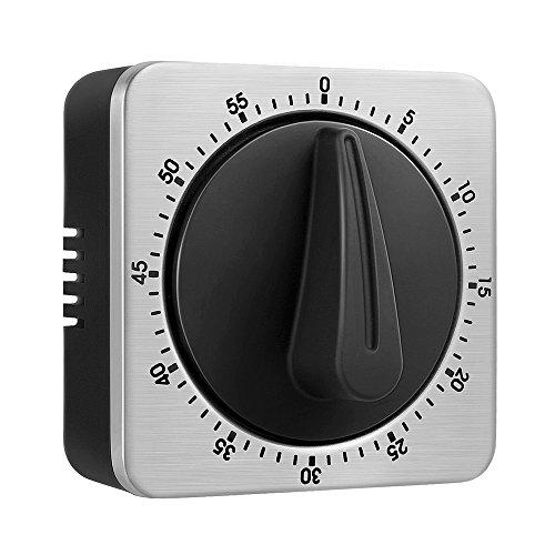 Küchentimer Eieruhren 60 Minute Timing mit 80dB Alarm Sound Magnetic Countdown Timer Home Backen Kochen Steaming Manual Timer Edelstahl Gesicht Mechanische Timer KeeQii