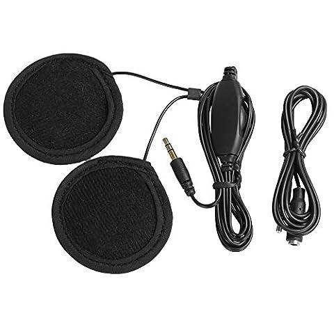 Rupse 3.5mm Casque écouteur Haut-parleur Stéréo Oreillette Moto avec Contrôle du Volume pour Téléphone Portable Mp3 iPod GPS etc. + Câble