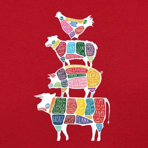 Meat Stack Diagram - Herren T-Shirt - 13 Farben Rot