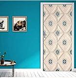 Adesivo Murale 3Dmoderna Carta Da Parati Modellata Per Soggiorno Camera Da Letto Home Decor Per Porte Adesivi 77X200Cm