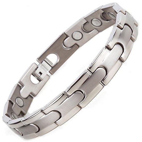 North South Titan T1matt und poliert magnetisch Link Armband mit GRATIS Luxus-Geschenk-Box + Demontagewerkzeug