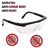 Occhialini di sicurezza anti virus regolabili per gambe, occhiali protettivi per gli occhi di lavoro, anti appannamento, lenti trasparenti anti-goccia, protezione germi e salute personale