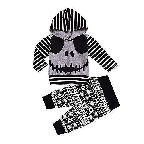 Babykleidung Satz, LANSKIRT Neugeborene Baby Boy Skull Gestreiften Tops Hoodie + Hosen Halloween Outfits Set Kleidung 0-24 Monate