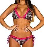 ALZORA Neckholder Damen Bikini Set Top und Hose leo pink Spitze, 10216 (M)