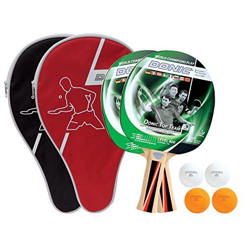 Donic-Schildkröt Tischtennis-Set Top Team 400, 2 Schläger, 4 Bälle in guter 1* Qualität, 2 Schlägerhüllen, im Blister, sehr gute Freizeitqualität, umfangreiche Ausstattung, 788471 (Schläger Tischtennis Top)