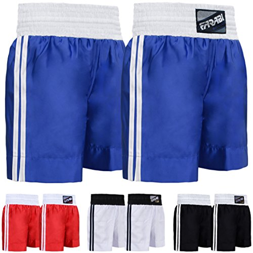 Farabi Pro Boxing Shorts for Boxing Training Punching, Sparring Fitness Gym Clothing Fairtex jiu Jitsu MMA Muay Thai Kickboxing Equipment Trunks (Blue, Small) -