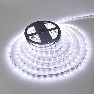 WenTop Waterproof Led Strip Lights,SMD 3528 16.4 Ft (5M) 300 LED 60leds/m Cool White Led Lights,TV Backlight,Led Strips,Ribbon Light,Rope Lighting,Kitchen Led Lighting - Not Contain the Power Supply by FoxKonn