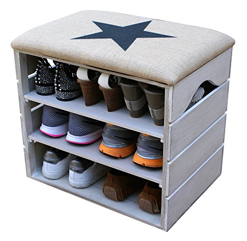 LIZA LINE MEUBLE CHAUSSURES (BLANC VIEILLI), BANC de RANGEMENT pour Chaussures avec ÉTAGÈRES. Assise Confortable en Tissu. Bois Massif Scandinave - 51 x 45 x 36 cm (Étoile Noire)