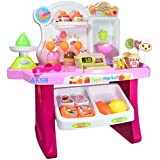 AKSH Supermarket Shop 34 Pcs with Battery Operated with Music & Led Lights Ice Cream Shop Set for Kids, (Mini Market)