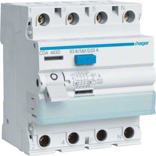 Hager CDA463D FI-Schalter 63A 30mA A-Typ 4-polig - Gas-wasser-heizung-teile