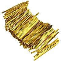 800pcs Alambre Metálico Decorativo para Bolsa de Dulce Piruleta Caramelo Color Oro