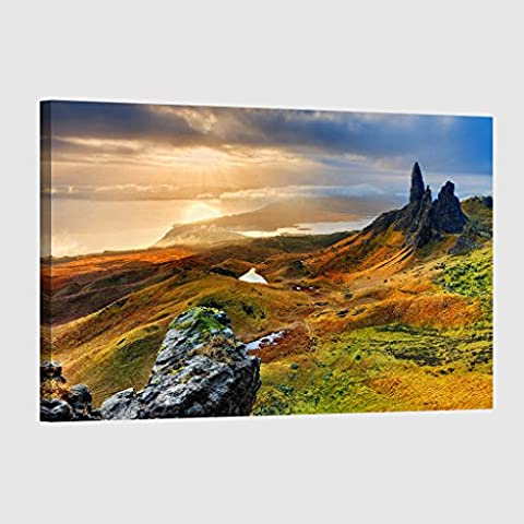 Canvas Print 30 x 20 Inch (76 x 50 cm) Landscape Isle of Skye Scotland 2 - Canvas Wall Art Picture Ready to Hang - FREE DELIVERY