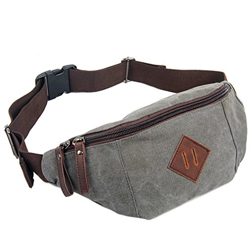 GSPStyle Unisex Canvas Brusttasche Herrentasche Freizeitstasche Schultertasche Sporttasche Grau