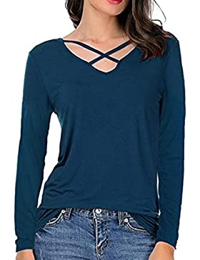 OverDose camisetas blusas manga larga para mujer vendaje cruzado cuello en V topas S-XL
