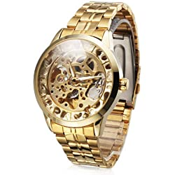 Ouku@Luxury Skeleton Dial Automatic Gold Stainless Steel AMPM24 Mechanical Wrist Watch PMW289