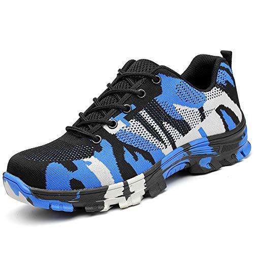 SUADEEX Damen Herren Sicherheitsschuhe Sportlich Trekking Wanderhalbschuhe Stahlkappe Arbeitsschuhe Hiking Schuhe Traillaufschuhe, Blau, 48 EU