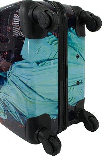 4 Rollen Hartschalenkoffer Koffer Trolley Reisetrolley Hartschale inkl. Zahlenschloss Statue Of Liberty