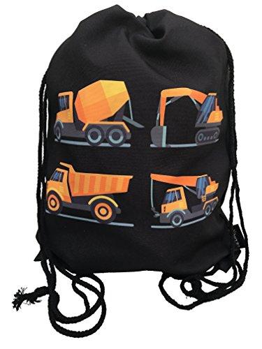 Kinder Turnbeutel für Jungen, Jungs | beidseitig mit 4 Baufahrzeugen Bedruckt | für Kindergarten, Krippe, Reise, Sport | geeignet als Gymsack, Rucksack, Spieltasche, Sportbeutel, Schuhbeutel - HECKBO