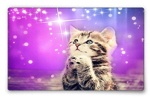 Silent Monsters Mauspad Größe S (24 x 20 cm) Mousepad Design: Katze mit vernähtem Rand geeignet für Office und Gaming Maus