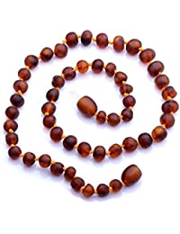 Genuine Baltic Amber Necklace - Raw not polished Beads - Cognac color - Knotted between beads