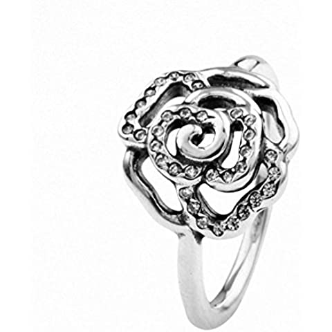 TAOTAOHAS antico S925 anello di promessa d'argento,di Fidanzamento Anello dell'eternità, regalo perfetto [fiore rosa, Crystal Clear]