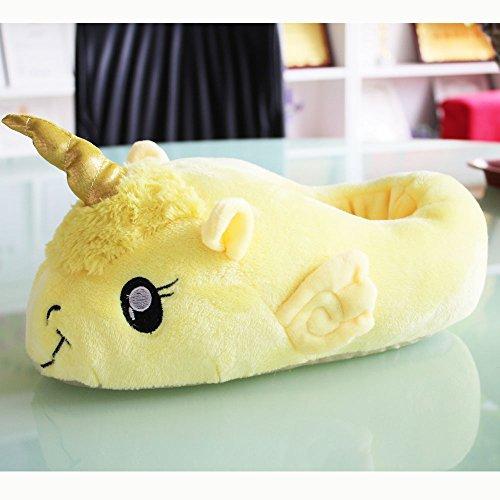 Aardvark Art Unicorn Einhorn Plüsch Hausschuhe Schuhe Erwachsene Gelb