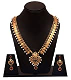 #8: Zeneme Pearl Traditional Temple coin Necklace Set / Jewellery Set with Earrings for Women
