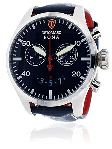 DETOMASO Roma Herren-Armbanduhr mit silbernen Edelstahlgehäuse und blauem Zifferblatt. Elegante Quarz Herren-Uhr mit blauem Leder-Armband