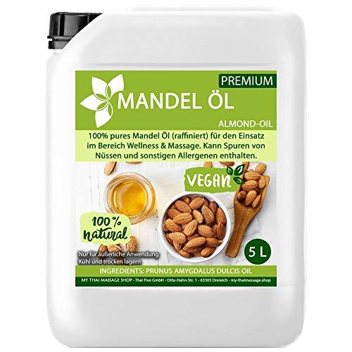 Kitama Mandelöl 100% rein 5-Liter (5000ml) Naturkosmetik - natürliches Pflege-Öl für Haut & Haar - Ideal für Aromatherapie als Basisöl Massageöl