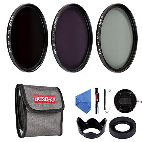 Beschoi - 58mm Lente Filtro, Packs de Filtros Fotográficos para Nikon Canon EOS DSLR Cámaras (10 PCS Incluye ND2 ND4 ND8 + Aceesorios)