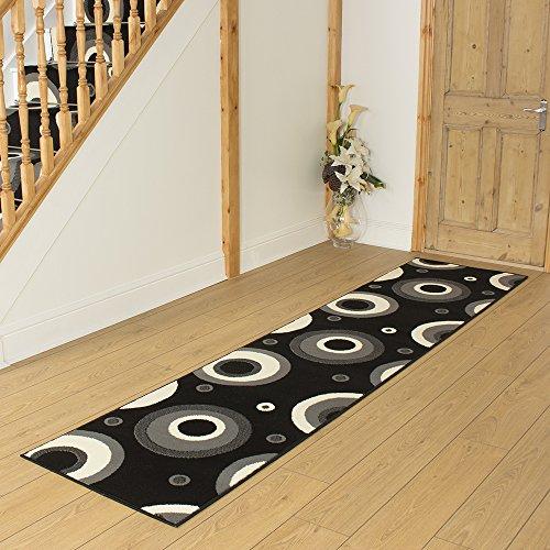 Circle Black - Long Hall & Stair Carpet Runner