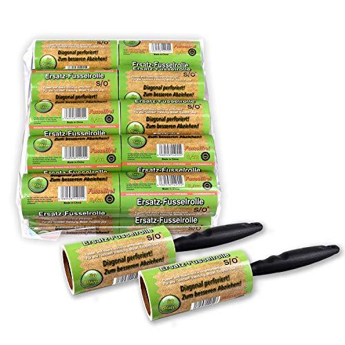 Schramm®, 20 rotoli antipelucchi a60fogli, di plastica, di colore nero conspazzola a rullo anti pelucchi, per eliminare sporco e polvere