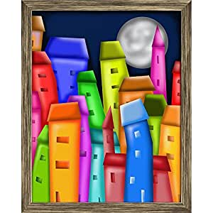 AZ Colorful Houses Canvas Painting Antique Gold Wood Frame 18 x 22.6inch