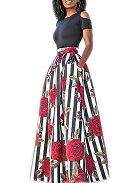 Verano De Mujer Fingió 2 Piezas De Bohemia Vestido Maxi Estampado Floral Parte