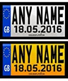 Coolrideplates® 90 X 50mm Personalised* Rear Date of Birth Number Plate Self-Adhesive Stickers (x2) designed for Little Tikes Cozy Coupe *Please see important note below