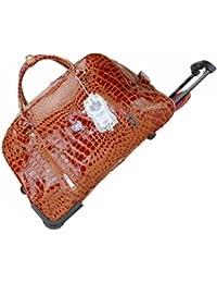 Exotic Glitter A425LYDC Femme Sac de voyage trolley, Sac bandoulière, sac à main, en imitation cuir de crocodile marron