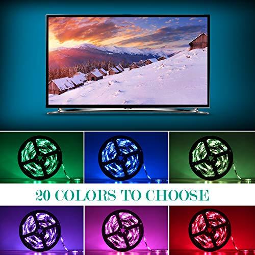 Adoric Ruban LED RGB 2M 5050 SMD 60 LEDs Light Strip Flexible Multicolore Décoration Chambre TV Tableau Miroir avec Télécommande de 17 Touches+5 piles bouton