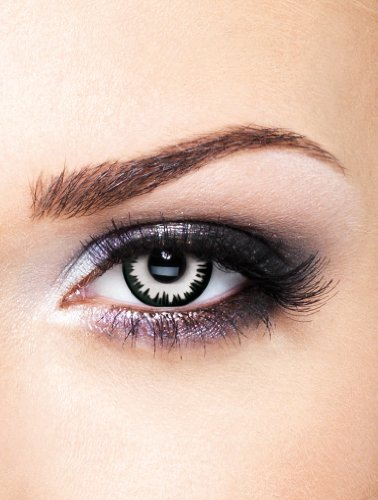 Edit farbige weiß schwarze Lunar Eclipse Kontaktlinsen ohne Stärke für Halloween und (Für Schwarz Kontakte Halloween)