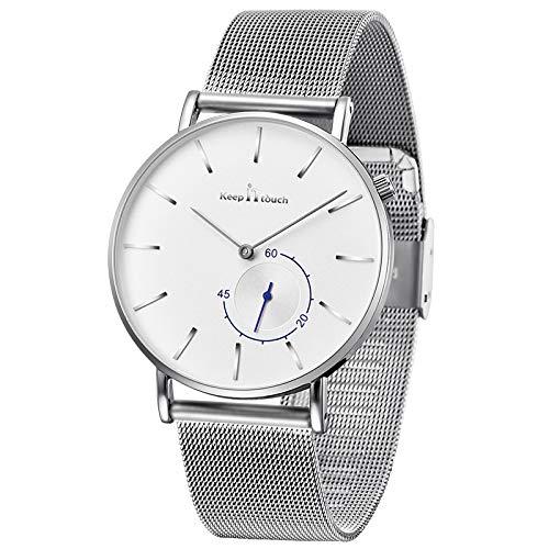 Unendlich U Herren Uhren Armbanduhr Edelstahl Mesh Armband Mode Wasserdicht Analog Quarzuhr Sekundenanzeige Uhr-Herren mit Milanaise-Armband