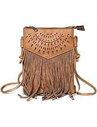 Kandharis Damen Umhängetasche Schultertasche Minibag Ethno CrossOver Tasche mit Fransen geometrischen CutOut Muster GB-11