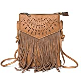Kandharis Damen Umhängetasche Schultertasche Minibag Ethno CrossOver Tasche mit Fransen geometrischen CutOut Muster GB-13 Braun