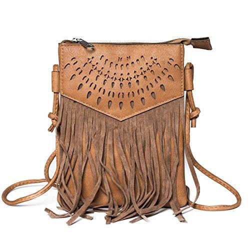 Kandharis Damen Umhängetasche Schultertasche Minibag Ethno CrossOver Tasche mit Fransen geometrischen CutOut Muster GB-13 Braun (Leder Damen Fransen)