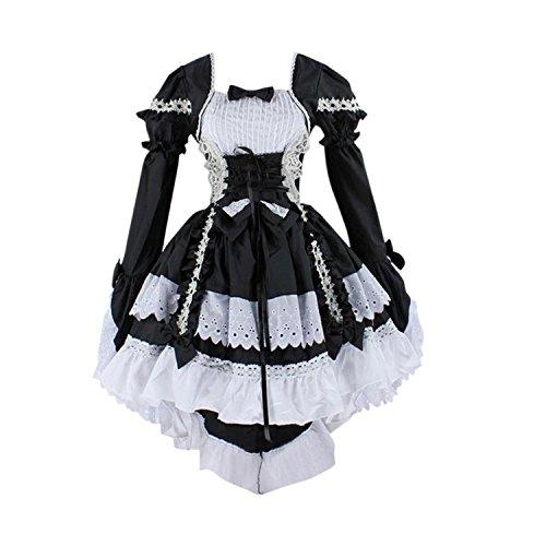 Cosplay costume vestito da lolita dress maid donna con arco anime gotico abito con arco per halloween carnival-très chic mailanda (m, nero)