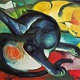 1art1 77771 Franz Marc - Zwei Katzen, Blau Und Gelb, 1912 Poster Kunstdruck 100 x 100 cm