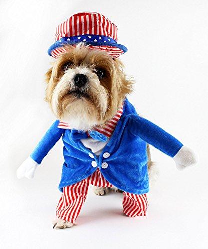 Midlee Uncle Sam 4. Juli Fake Arme Hund Kostüm, Large, Rot/Weiß/Blau