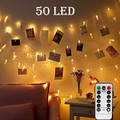 50l Led (Vegena Lichterkette mit Klammern für Fotos, 8 Modi USB/Batteriebetrieben Fotolichterkette Fotolichter Kette 50 LED Fotoclips Lichterketten für Zimmer Bilder Schlafzimmer Weihnachten Hochzeit Deko)