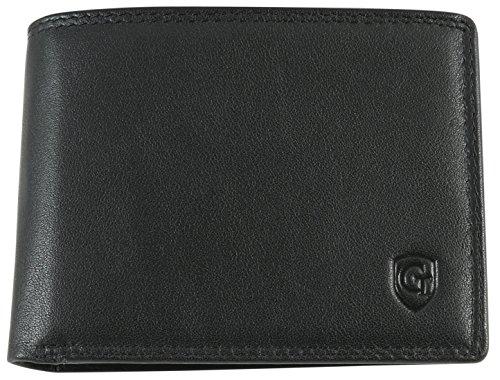 Elegantes Herren Portemonnaie Geldbörse mit großem Münzfach aus hochwertigem Leder mit Gold RFID und NFC Schutz Blocker extra dünn | Brieftasche schützt Kreditkarten vor Datendieben