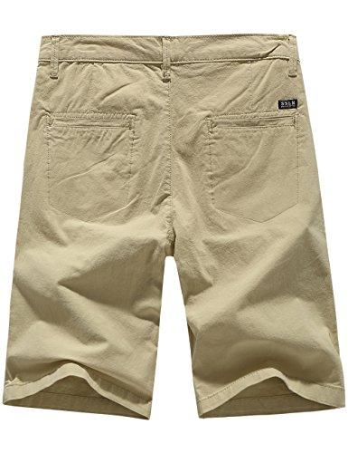 SSLR Herren Leinen Gefühl Regular Fit Flat Front Casual Shorts Beige