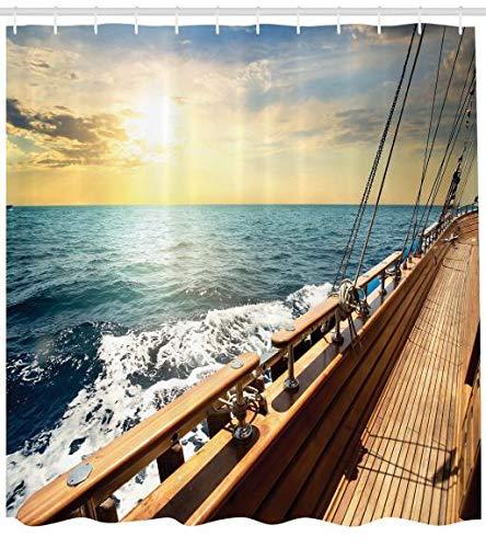 ABAKUHAUS Nautisch Duschvorhang, Segelboot-Sonnenuntergang Meer, Waserdichter Stoff mit 12 Haken Set Dekorativer Farbfest Bakterie Resistet, 175 x 200 cm, Creme und Blau