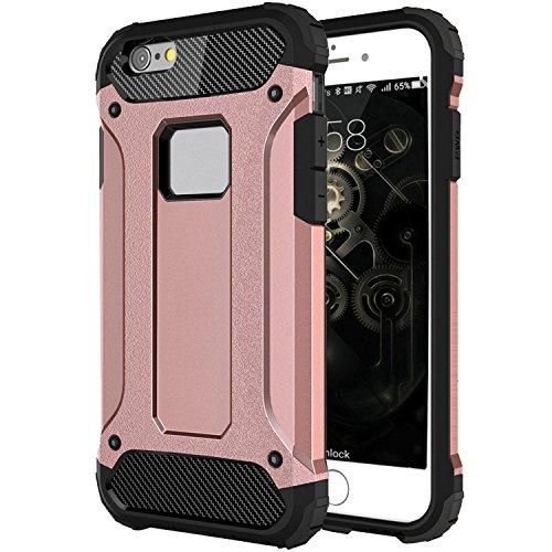 "iPhone 6S Hülle, HICASER Hybrid Dual Layer Rugged Heavy Duty Defender Case [Shock Proof] Drop Resistance TPU +PC Handytasche Schutzhülle für Apple iPhone 6 / 6S 4.7"" Braun Rose Gold"